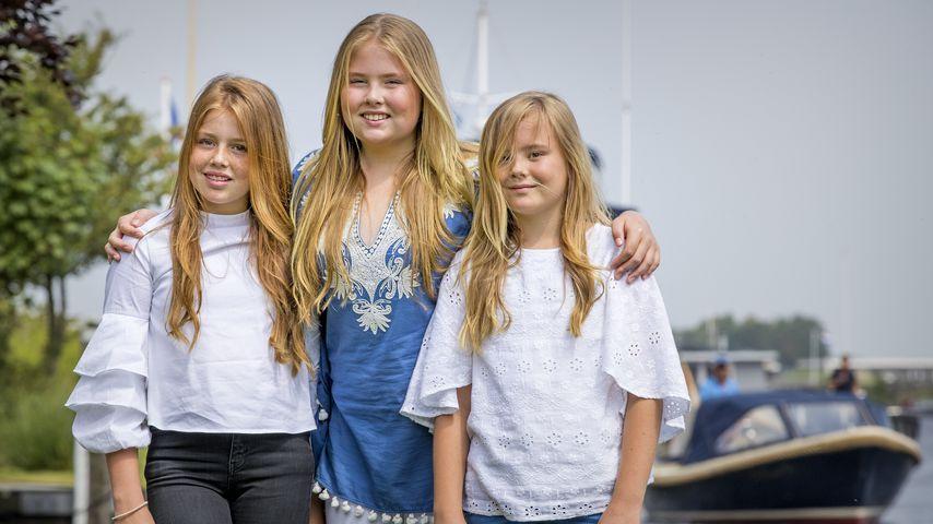 Prinzessin Catharina-Amalia mit ihren beiden jüngeren Schwestern, Juli 2017
