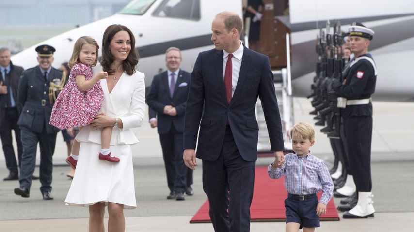 Prinzessin Charlotte, Herzogin Kate, Prinz William, Prinz George in Warschau