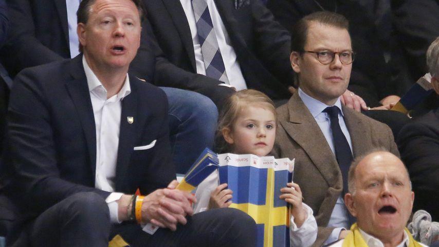 Prinzessin Estelle mit Papa Daniel bei der Handballeuropameisterschaft 2016