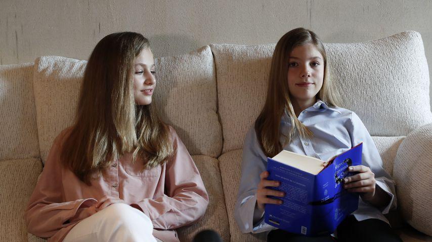 Prinzessin Leonor und Prinzessin Sofía von Spanien in Madrid im April 2020