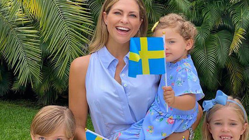 Prinzessin Madeleine mit ihren Kindern am schwedischen Nationalfeiertag