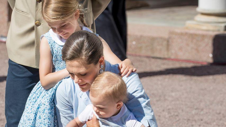 Prinzessin Victoria und ihre beiden Kinder Estelle und Oscar