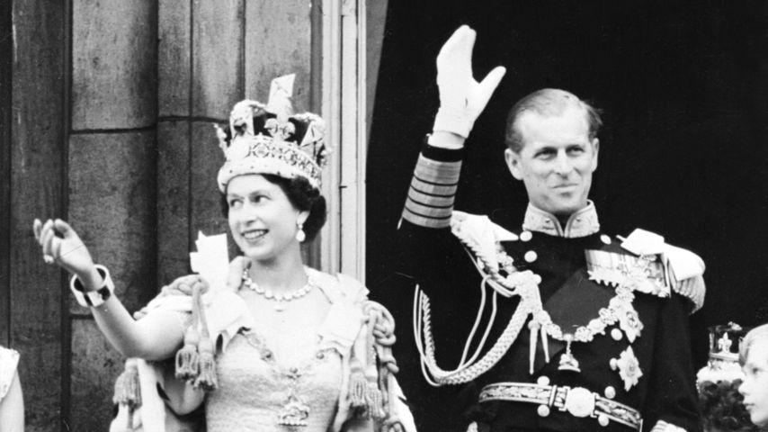 Queen Elizabeth II. und Prinz Philip nach ihrer Krönung 1953
