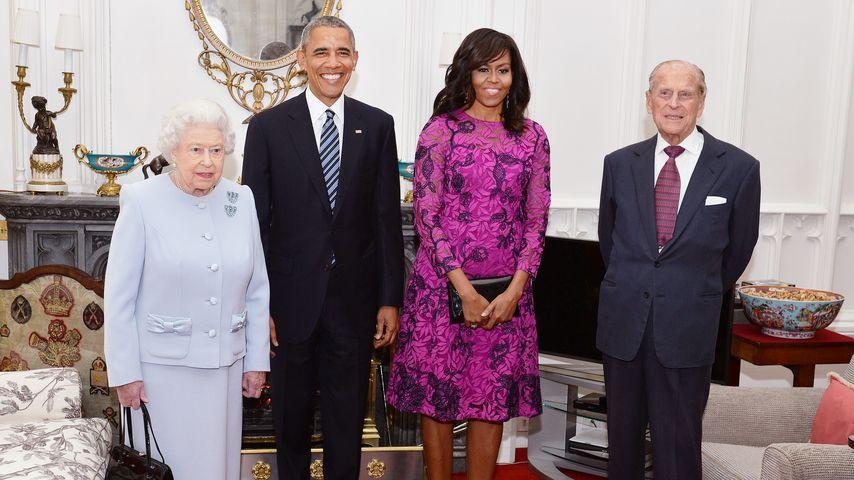 Queen Elizabeth II., Barack Obama und Michelle Obama