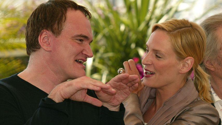 """Quentin Tarantino und Uma Thurman bei einem Pressetermin zu """"Kill Bill Vol.2"""""""