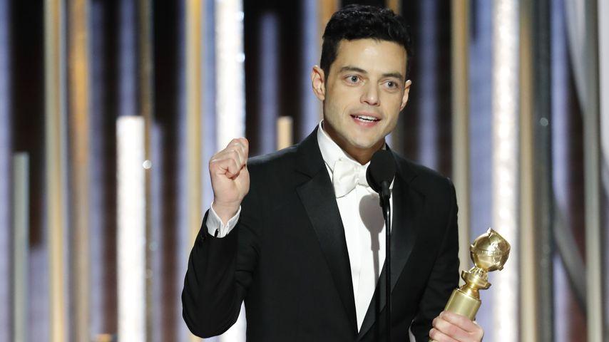 """Rami Malik mit dem Golden Globe für seine Hauptrolle in """"Bohemian Rhapsody"""""""