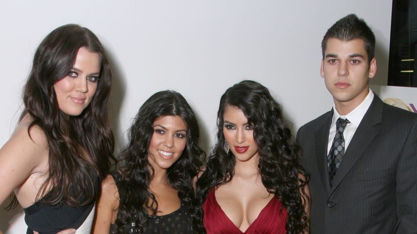 Rob Kardashian mit seinen Schwestern Khloe, Kourtney und Kim (v. l.) im Jahr 2007