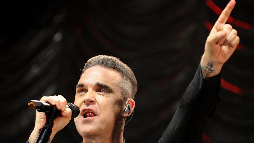 Robbie Williams bei einem Auftritt 2016 in Manchester