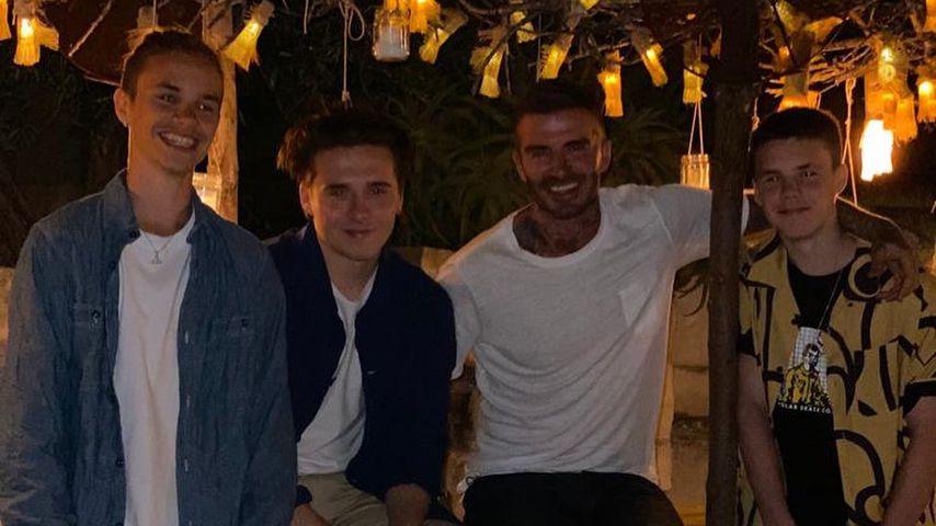 Romeo, Brooklyn, David und Cruz Beckham im August 2020