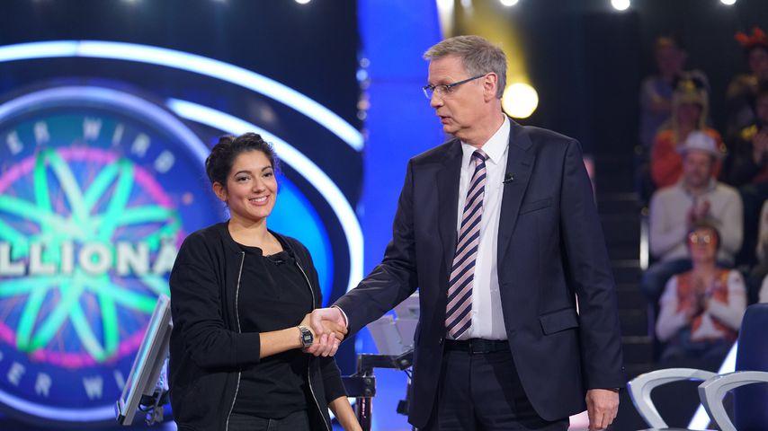 """Roxanne von der Weiden und Günther Jauch bei """"Wer wird Millionär?"""""""