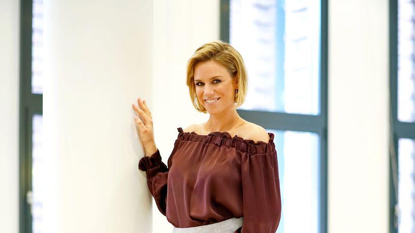RTL-Moderatorin Sandra Kuhn während ihrer ersten Schwangerschaft