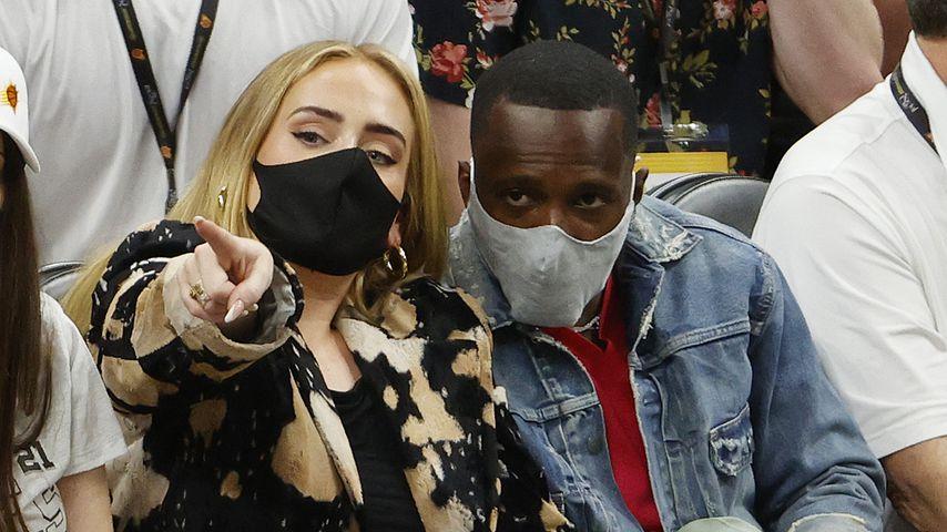 Adele und Rich Paul bei einem Basketballspiel