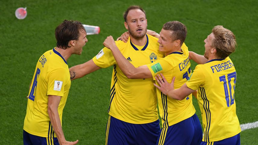 Spieler der schwedischen Fußballnationalmannschaft beim WM-Spiel gegen Mexiko