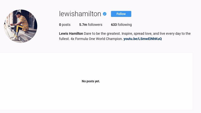 Lewis Hamiltons leeres Instagramprofil