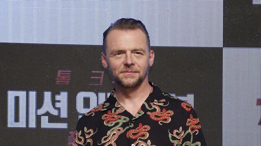 "Simon Pegg bei der ""Mission: Impossible – Fallout""-Pressekonferenz in Korea im Juli 2018"