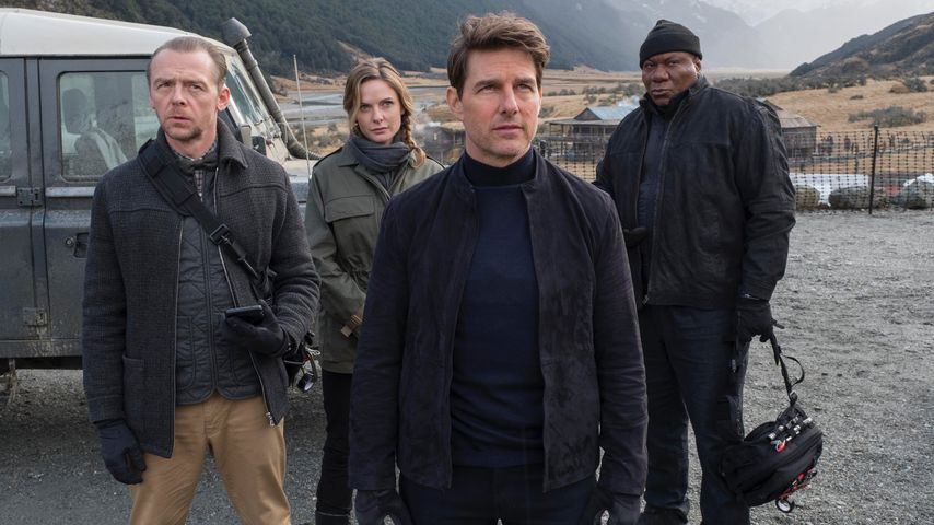 "Simon Pegg, Rebecca Ferguson, Tom Cruise und Ving Rhames in ""Mission: Impossible - Fallout"""