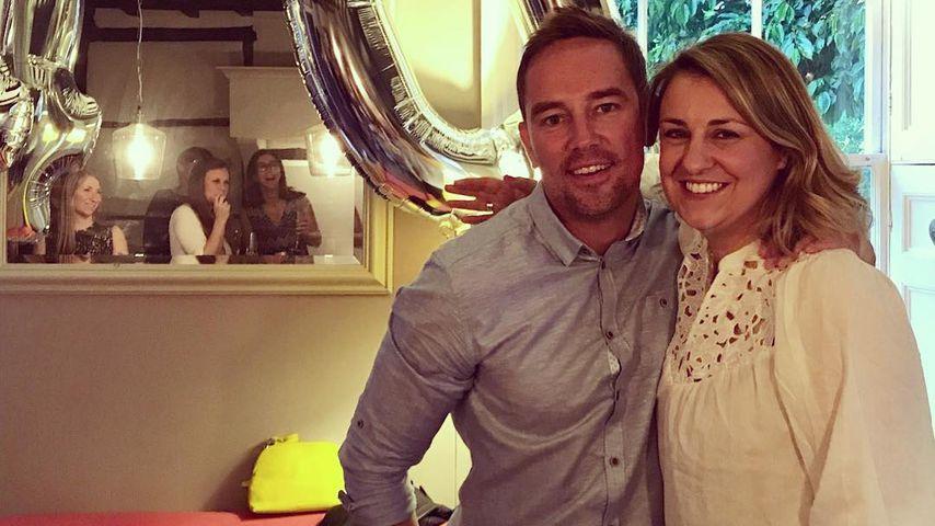 Sky-Moderator Simon Thomas und seine Ehefrau Gemma an ihrem 40. Geburtstag