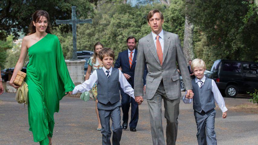 Tessy Antony von Nassau, Ex-Mann Prinz Louis von Luxemburg und ihre zwei Söhne, Juli 2014