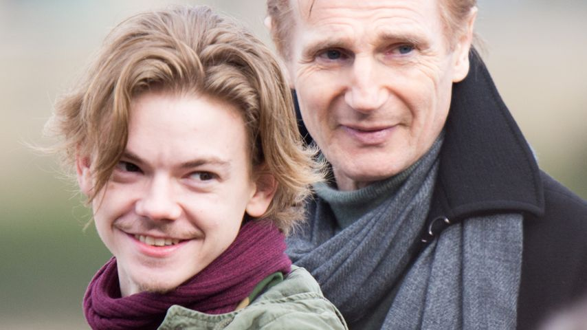 Thomas Brodie-Sangster und Liam Neeson in London