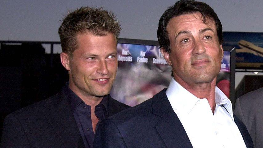 """Til Schweiger und Sylvester Stallone bei der Filmpremiere von """"Driven"""" in Los Angeles, 2001"""