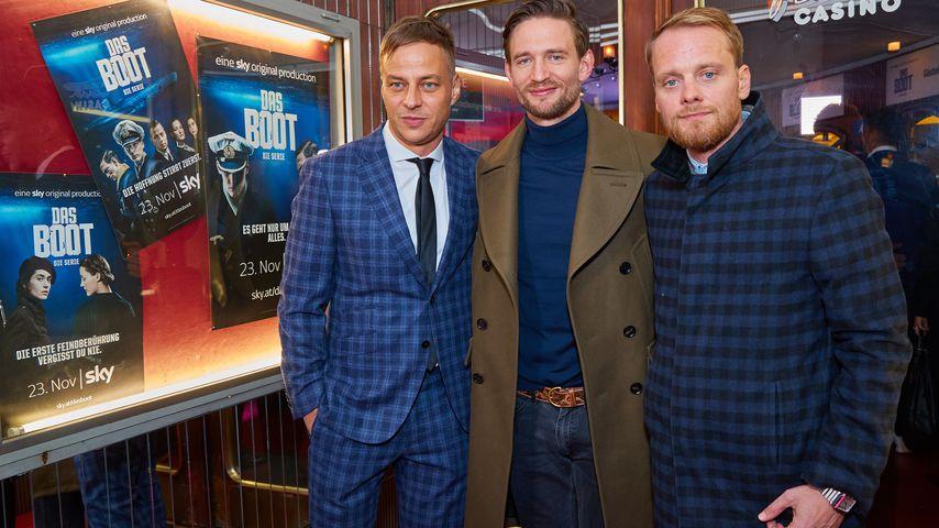 """Tom Wlaschiha, August Wittgenstein und Stefan Konarske bei der Premiere von """"Das Boot"""""""