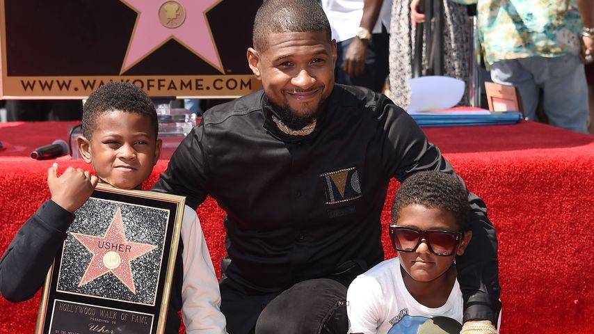 So groß! Ushers Mini-Mes posieren auf dem Walk of Fame