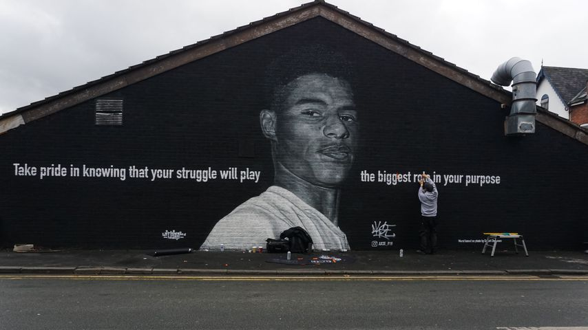 Wandgemälde zu Ehren des England-Kickers Marcus Rashford