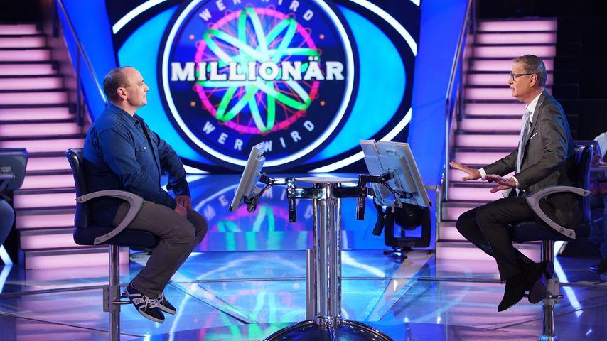 """""""Wer wird Millionär?""""-Kandidat Jonni di Sante und Moderator Günther Jauch"""