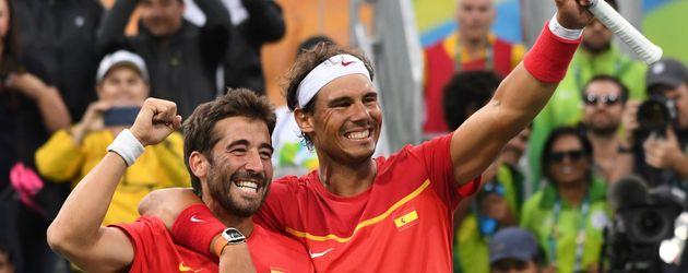 Die spanischen Tennisspieler Marc Lopez und Rafael Nadal bei Olympia 2016