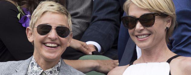 Ellen Degeneres und Portia de Rossi in Wimbledon