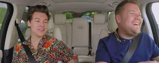 "Harry Styles und James Corden beim Carpool Karaoke der ""The Late Late Show"""