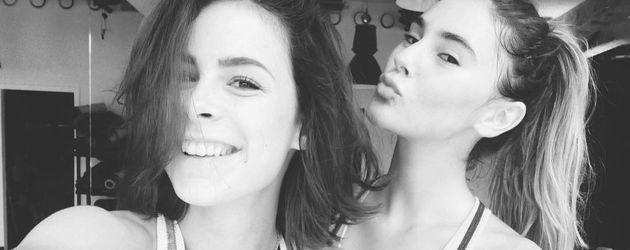 Lena Meyer-Landrut und Stefanie Giesinger machen ein Sport-Selfie