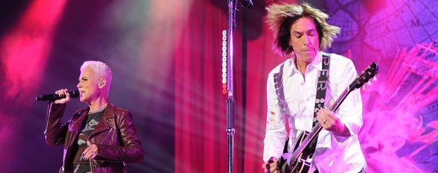 Roxette während einer Performance in der LG Arena in Birmingham