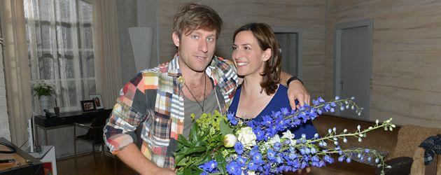 Merlin Leonhardt und Ulrike Frank 2014 am GZSZ-Set