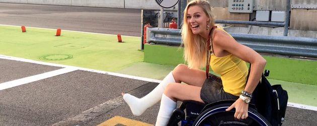 Miriam Höller nach ihrem Unfall beim Action-Fotoshooting