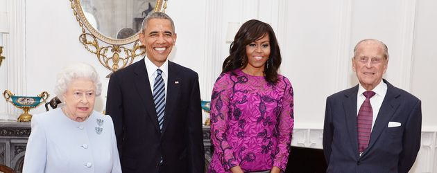Queen Elizabeth II., Barack Obama und Michelle Obama
