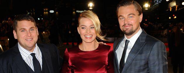 Jonah Hill, Margot Robbie und Leonardo DiCaprio (v.l.n.r.)