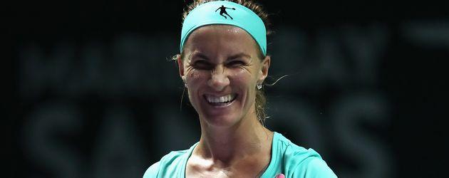 Svetlana Kuznetsova nach ihrem Sieg über Agnieszka Radwanska