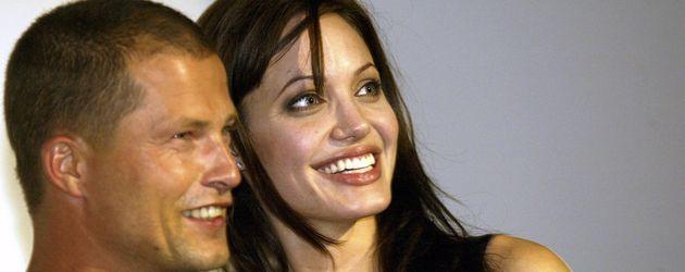 """Til Schweiger und Angelina Jolie auf der """"Tomb Raider""""-Premiere 2003 in München"""
